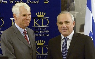 EU Ambassador to Israel Lars Faaborg-Andersen, left, with Israeli Minister Yuval Steinitz (photo credit: Yossi Zwecker)