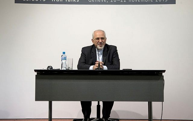 Iranian Foreign Minister Mohammad Javad Zarif speaks to the media at the International Conference Centre of Geneva, Sunday, Nov. 24, 2013, in Geneva, Switzerland. (photo credit: AP/Carolyn Kaster, Pool)