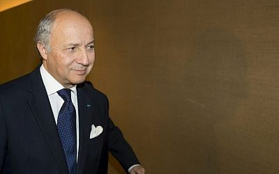 French Foreign Minister Laurent Fabius (photo credit: AP/Jean-Christophe Bott,Pool)