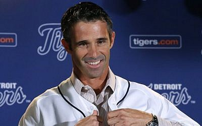 Brad Ausmus is introduced as the new Detroit Tigers manager during a news conference in Detroit Sunday, Nov. 3, 2013. Ausmus replaces Jim Leyland who stepped down as manager.(photo credit: AP Photo/Paul Sancya)