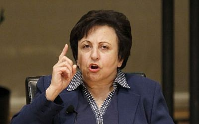 Dr. Shirin Ebadi participate in the World Summit of Nobel Peace Laureates, in Chicago. in an interview with the Associated Press November 5, 2013. (Charles Rex Arbogast/AP)