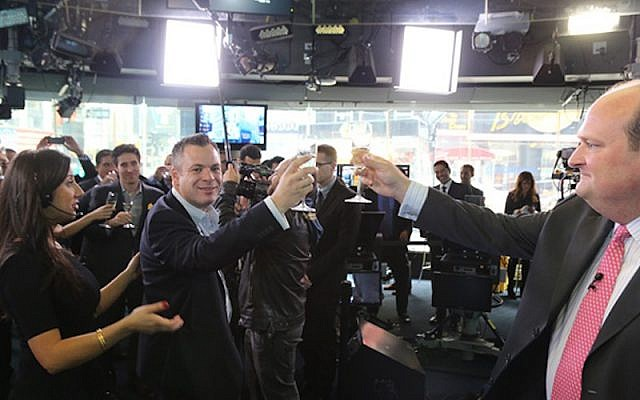 The Wix team toasts its IPO on the Nasdaq trading floor earlier this year (Photo credit: Courtesy Wix)