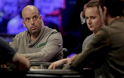 Amir Lehavot checks the scoreboard during the World Series of Poker Final Table on Monday in Las Vegas. (photo credit: AP/Julie Jacobson)