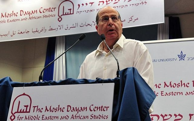 Defense Minister Moshe Ya'alon speaks at Tel Aviv University, November 2013. (photo credit: Ariel Hermoni)