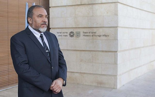 Avigdor Liberman waiting for a guest outside the Foreign Ministry in Jerusalem, November 20, 2012. (photo credit: Yonatan Sindel/Flash90)