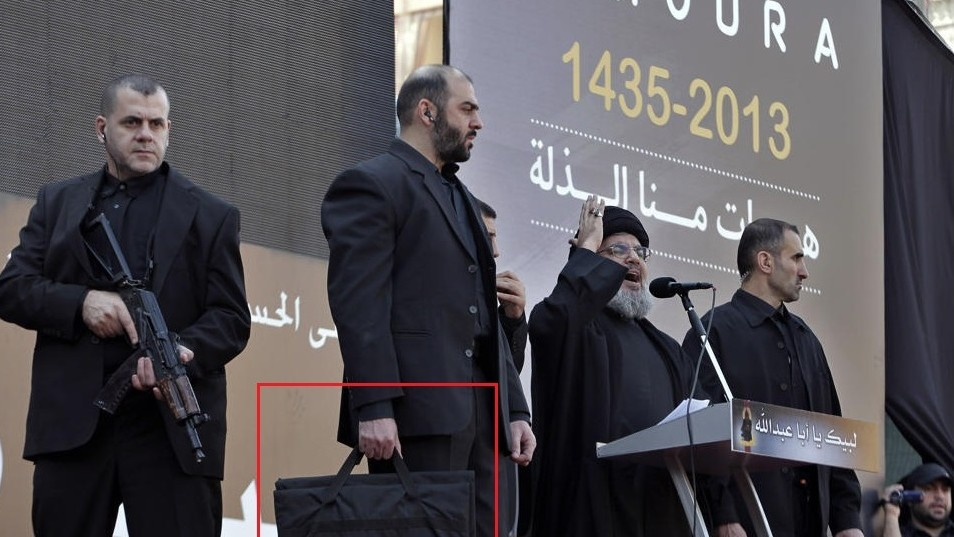 Nasrallah In Body Armor Protected By A Security Blanket