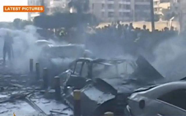 The scene of the explosion in Beirut. (Screenshot: Al Jazeera)