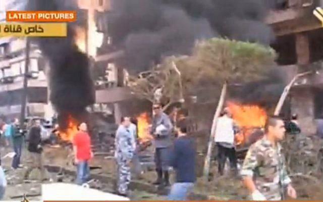 The scene of the explosion in Beirut. (Screenshot: Al Jazeera/Al Manar)