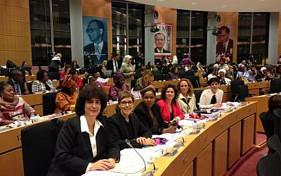 Supreme Court Justice Daphne Barak-Erez, left, together with members of the Israel Knesset at the gathering in Brussels. (Photo credit: Courtesy David Saranga)