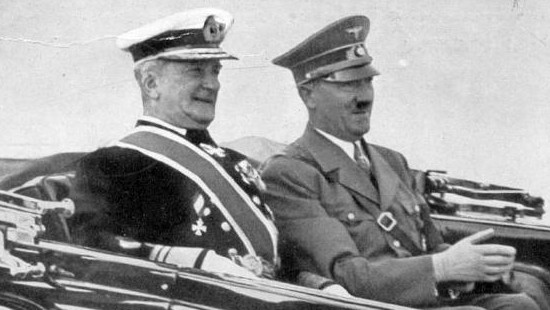 Regent of Hungary Miklós Horthy de Nagybánya with Adolf Hitler, year unspecified (photo credit: Wikimedia Commons)