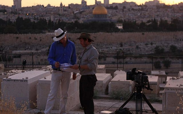 Dr. Simon Sebag Montefiore on the Mount of Olives while filming a BBC series based on his book 'Jerusalem.' (photo credit: courtesy)