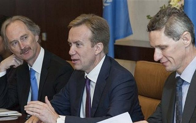 Borge Brende (center), Norway's minister for foreign affairs (photo credit: AP/The United Nations, Amanda Voisard)