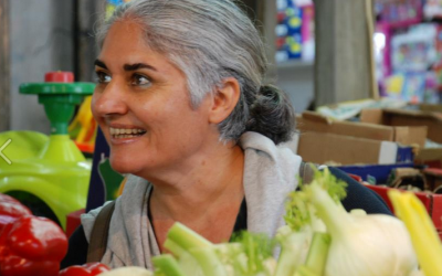 Standing over the fennel, with home chef and cookbook author Orly Ziv in the Carmel Market in Tel Aviv (Courtesy Orly Ziv)