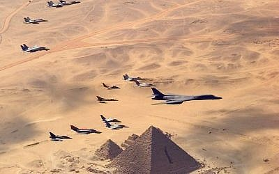 A US bomber leading an international air drill over Egypt in 1999. (photo credit: Staff Sgt. Jim Varhegyi, US Air Force/Department of Defense)