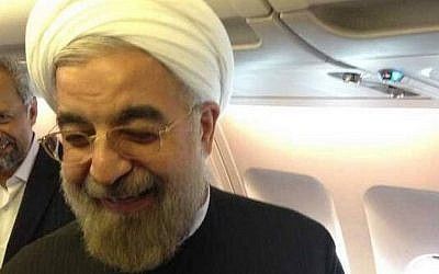 Iranian President Hasan Rouhani boarding his plane in New York, heading back to Tehran, in September 2013. (photo credit: @HassanRouhani via Twitter)