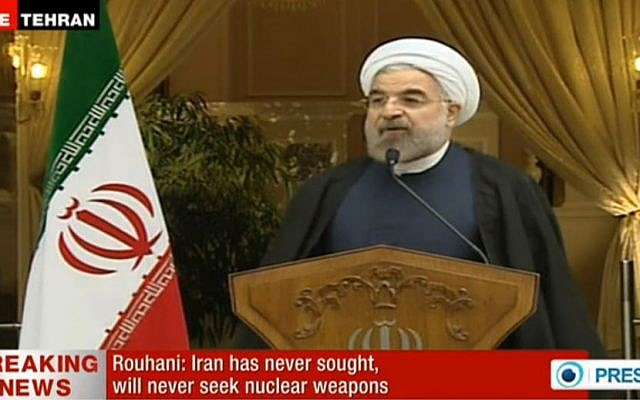 Hassan Rouhani speaking Sunday. (Screenshot: Press TV)
