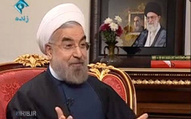 Hassan Rouhani speaking on state TV Tuesday. (Screen capture: YouTube/ IRIB)
