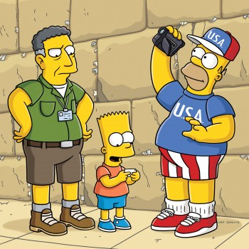 Jakob the tour guide with the Simpsons at the Western Wall (screen capture: YouTube)