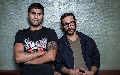 Roy Siny, left, and Reza Khani are the founders of the Iranian-Israeli party collective No Beef. (photo credit: Boaz Arad/JTA)