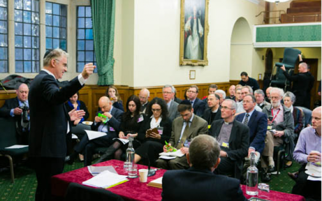 Ambassador Daniel Taub speaks at the Church of England General Synod (photo credit: courtesy/Yakir Zur)