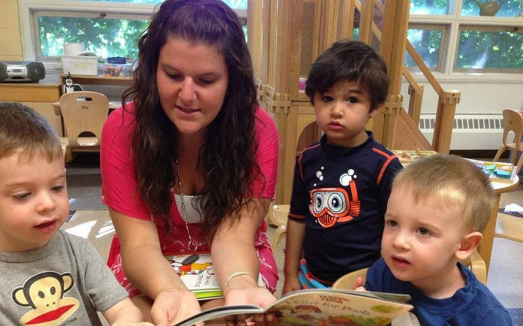 Children learn in small groups with a teacher at Temple Beth Shalom in Needham, Mass. (photo credit: Courtesy of the Paradigm Project/JTA)