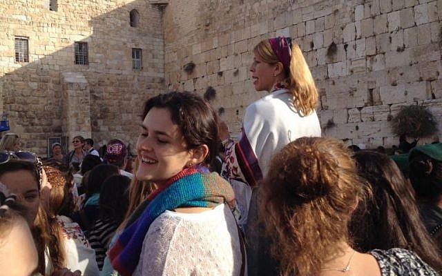 Women of the Wall praying at the Western Wall Monday. (photo credit: Debra Kamin/Times of Israel staff)