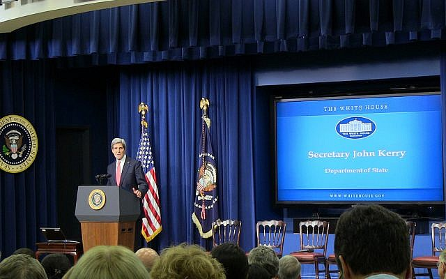 John Kerry speaking at the White House Monday. (photo credit: Aids.gov)
