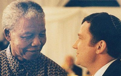 Nelson Mandela, left, and Yuli Edelstein meeting in 1996. (photo credit: Courtesy)