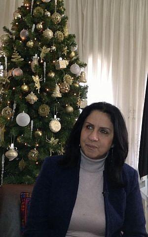 Bethlehem mayor Vera Baboun in her office overlooking Manger Square, December 9, 2013 (photo credit: Elhanan Miller/Times of Israel)