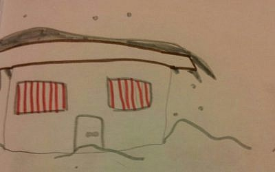 Snow in Har Bracha, as depicted by Avraham Hermon's seven-year-old daughter, December 2103 (credit: courtesy)