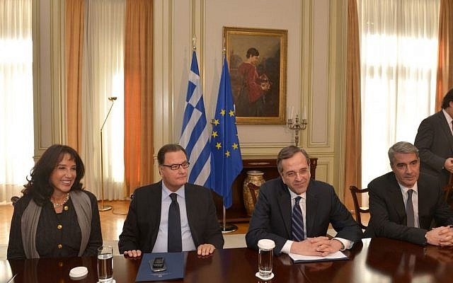 Greek Prime Minister Antonis Samaras, second from right, with European Jewish leaders, December 9, in Athens. (photo credit: Sabrina Paraskevopoulou)