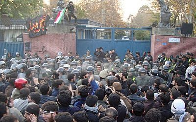 Iranian protesters charge the British Embassy in Tehran, November 2011 (photo credit: Americophile/Wikimedia Commons)