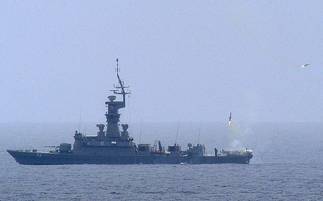 Illustrative photo of the Singaporian ship RSS Vengeance test-firing a Barak missile system. (photo credit: CC BY US Navy/Wikipedia)