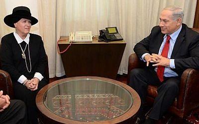 Esther Pollard (left) meets with Prime Minister Benjamin Netanyahu at his office in Jerusalem on Monday, December 23, 2013. (photo credit: Benjamin Netanyahu/Facebook)