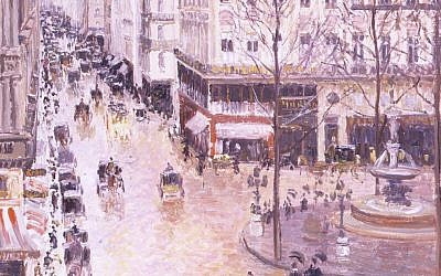 Detail of 'Rue St.-Honore, Apres-Midi, Effet de Pluie' by Camille Pissarro, born on the island of St. Thomas. (AP/Thyssen-Bornemisza Museum)