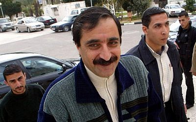 Rashid Abu-Shbak arrives at a meeting in Gaza, March 2004 (photo credit: AP/Adel Hana)
