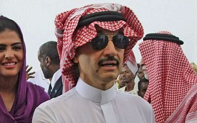 Saudi Prince and businessman Alwaleed bin Talal visits the Somali capital Mogadishu, August 2011 (photo credit: AP/Farah Abdi Warsameh)