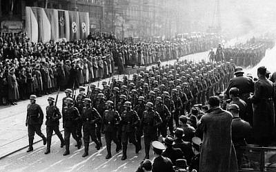 German troops hold a military parade in Prague's Wenceslas Square, March 19, 1939. (photo credit: AP Photo)