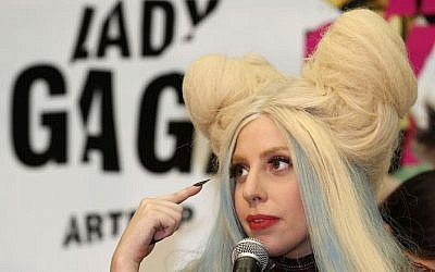 Lady Gaga at a press conference to promote her album ARTPOP in Tokyo, Sunday, December 1, 2013. (photo credit: AP/Shizuo Kambayashi)