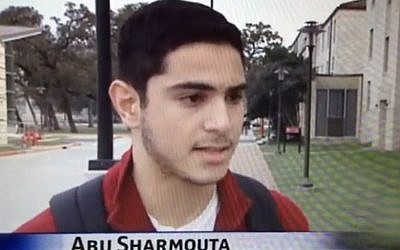 University of Houston student tricking local reporter by telling her his name is Abu Sharmouta, or Father of the Prostitute (screen capture: YouTube)