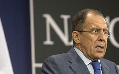 Russian Foreign Minister Sergey Lavrov speaks during a media conference at NATO headquarters in Brussels on December 4, 2013. (photo credit: AP /Virginia Mayo)