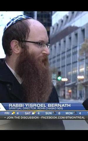 Rabbi Yisroel Bernath has been getting a lot of media attention for his Quebec Kippa. (photo credit: Screenshot/Courtesy of Yisroel Bernath)