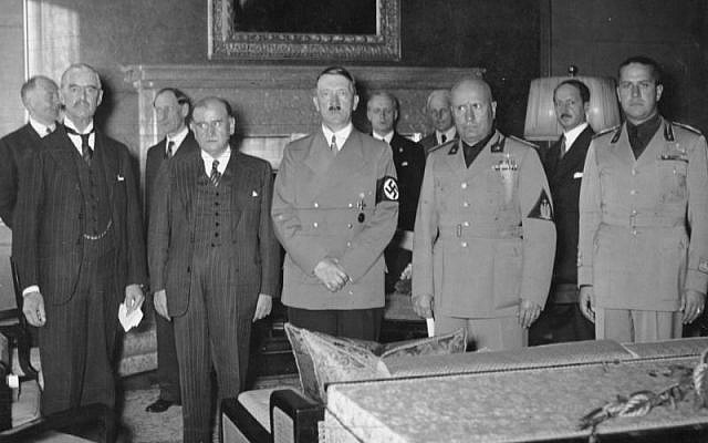 From left to right: Chamberlain, Daladier, Hitler, Mussolini, and Ciano pictured before signing the Munich Agreement, which gave the Sudetenland to Germany. (photo credit: German Federal Archives / Wikipedia)