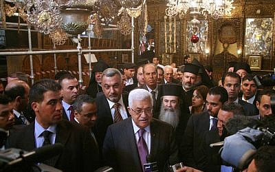 Mahmoud Abbas at the Church of the Nativity in Bethlehem in 2010. (photo credit: Najeh Hashlamoun/Flash90)