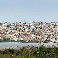 View of the Arab-Israeli town of Baqa al-Gharbiya. (Moshe Shai/Flash90)