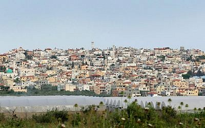 View of the Arab-Israeli town of Baqa al-Gharbiya. (Moshe Shai/Flash90)