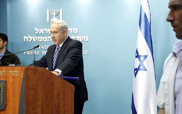 Prime Minister Benjamin Netanyahu, at an October 9, 2012 press conference at the Prime Minister's office in Jerusalem, announces he's calling elections. (Photo credit: Miriam Alster/FLASH90)