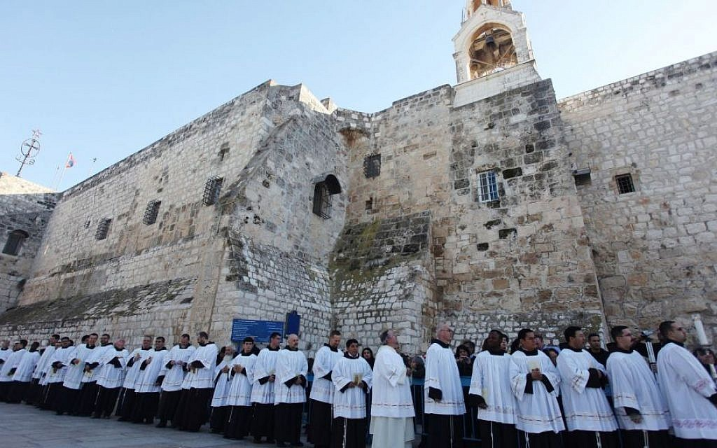 Illustrative photo of clergymen gathering at Manger Square outside the Church of Nativity for Christmas celebrations in the West Bank city of Bethlehem, December 24, 2012 (photo credit: Issam Rimawi/Flash90)