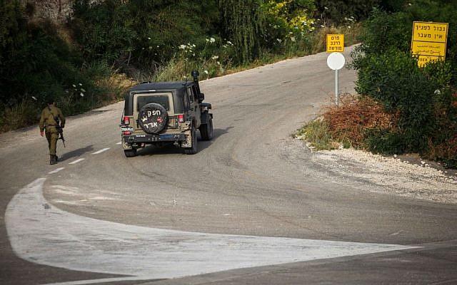 An IDF vehicle on the road near the Rosh Hanikra border with Lebanon. (photo credit: Avishag Shaar Yashuv/Flash90)