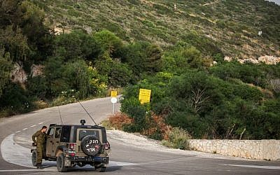 An IDF vehicle near the border with Lebanon at Rosh Hanikra (photo credit: Avishag Shaar Yashuv/Flash90)